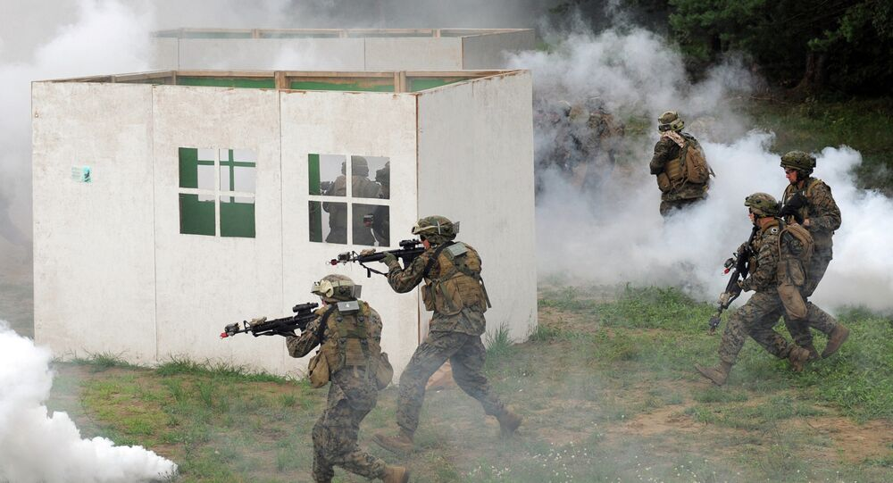 US servicemen take part in a military drill in Yavoriv polygon, Lviv district, western Ukraine, on July 24, 2015.