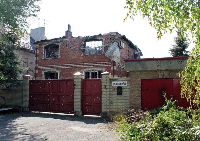 A building destroyed by shelling of the Oktyabrsky village in the Kuibyshevsky district of Donetsk