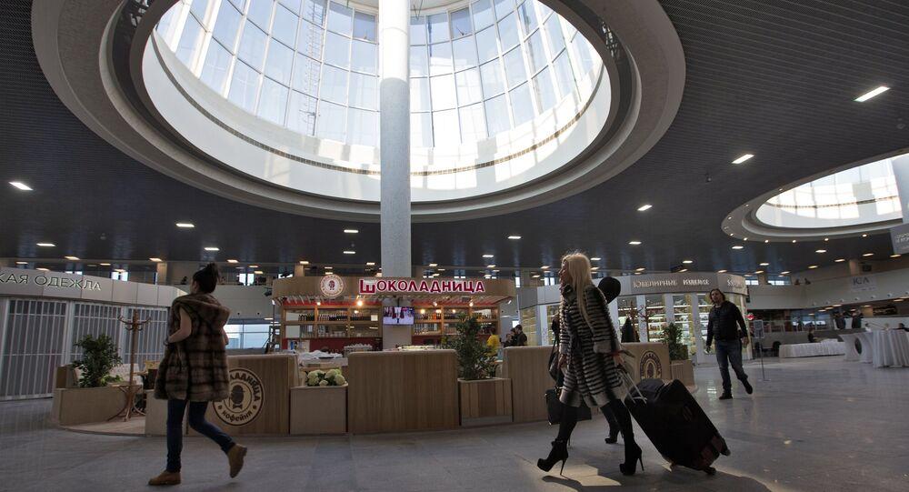 Passengers inside the renovated Pulkovo-1 airport terminal.