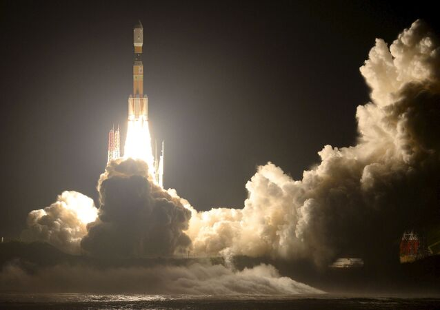 A H-2B rocket carrying cargo craft for the International Space Station (ISS) called Kounotori No.5 blasts off from the launching pad at Tanegashima Space Center on the Japanese southwestern island of Tanegashima, Kagoshima prefecture, southwestern Japan, in this photo taken by Kyodo August 19, 2015