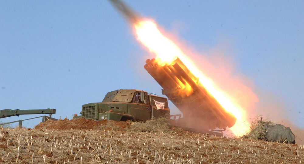rocket launcher is fired during a live drill by the Jangjae Islet Defense Detachment and the Mu Islet Hero Defense Detachment deployed in the southwestern sector of North Korea