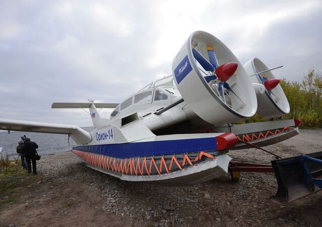 The Orion 14 wing-in-ground effect aircraft at the Ground-Effect Craft Center set up on the base of the Avangard Shipyard