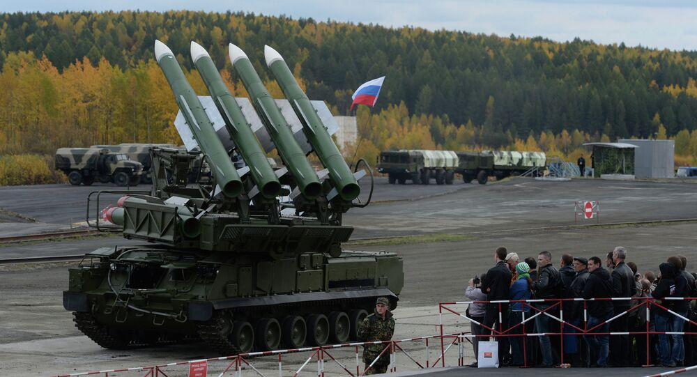 The Buk-M2E missile system at the 9th International Exhibition of Arms, Military Equipment and Ammunition in Nizhny Tagil