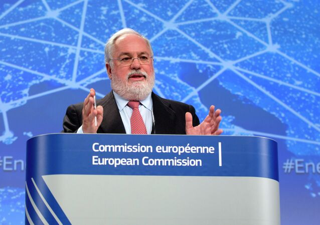 European Commissioner for Climate Action and Energy Miguel Arias Canete speaks during a media conference at EU headquarters in Brussels on Wednesday, Feb. 25, 2015