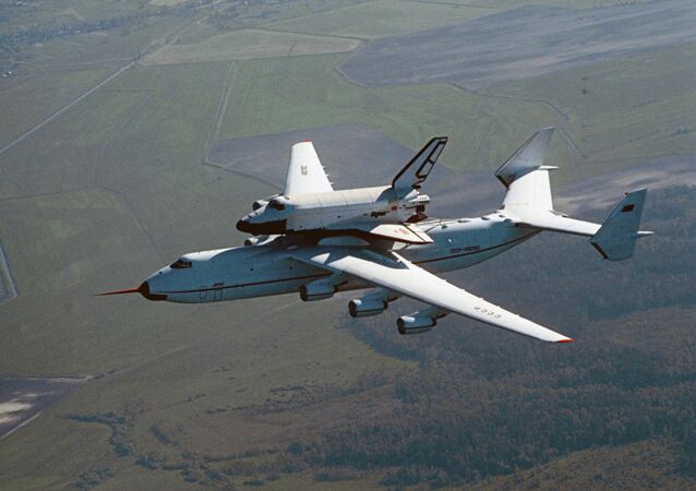 Antonov An-225 aircraft flies with Buran space shuttle on external store