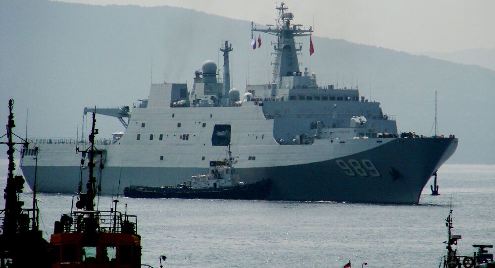 The amphibious warfare ship Changbaishang that has arrived in Vladivostok together with six other Chinese warships for the second stage of the Naval Cooperation 2015 exercise
