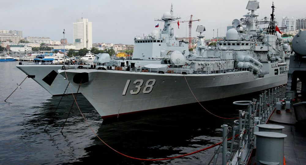 From left: The destroyers Shenyang and Taizhou that have arrived in Vladivostok together with five other Chinese warships for the second stage of the Naval Cooperation 2015 exercise