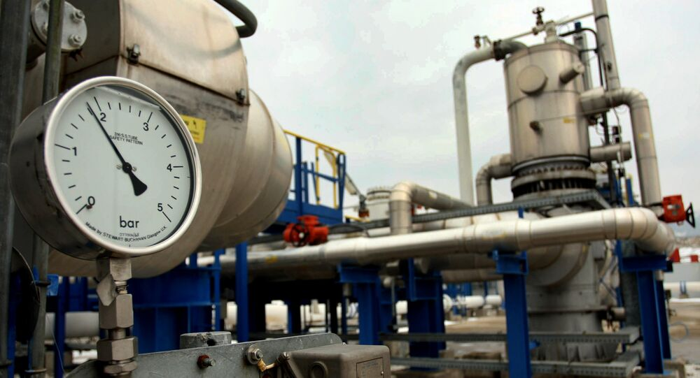 A bar meter of pipelines of natural gas is pictured at the GreeK-Bulgarian borders in Promahonas, northern Greece