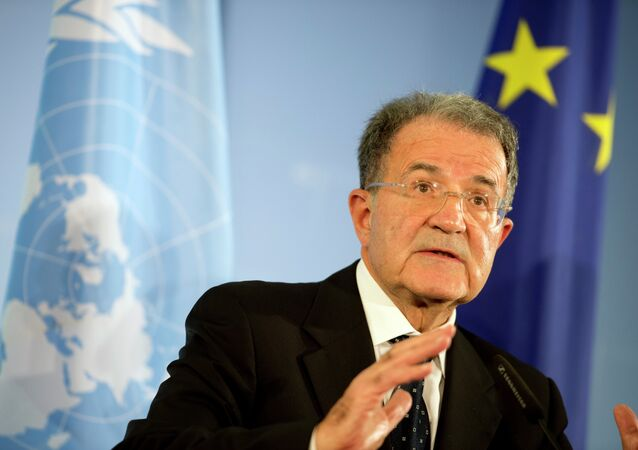 President of the African Union-UN peacekeeping panel Romano Prodi gives a press conference at the foreign office in Berlin on October 23, 2012