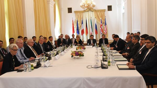 Representatives of EU, US, Britain, France, Russia, Germany, China and Iran meet for another round of the P5+1 powers and Iran talks in Vienna, Austria on June 12, 2015. - Sputnik International
