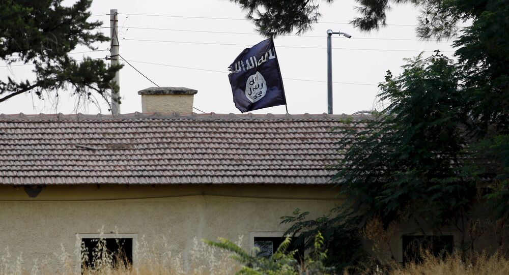 An Islamic State flag flies over the custom office of Syria's Jarablus border gate as it is pictured from the Turkish town of Karkamis, in Gaziantep province, Turkey August 1, 2015