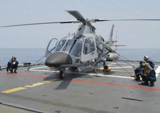 A Philippine Navy weaponised AW109 helicopter on board the frigate BRP Ramon Alcaraz.