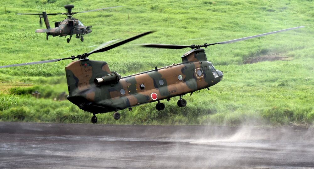 A CH-47J Chinook heavy lift helicopter