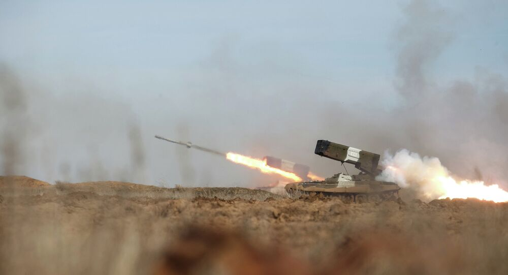 The TOS-1A multiple rocket launcher during a military exercise at the Prudboi training ground, Volgograd Region