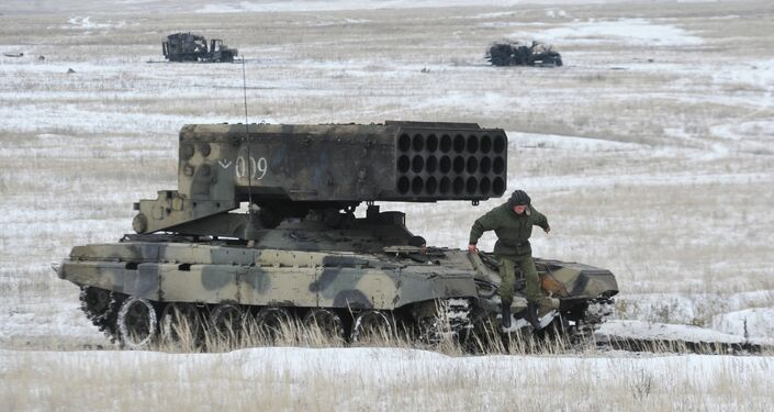 Heavy flamethrower TOS-1 Buratino during military exercises of military units and chemical protection organizations at the Shihansky garrison in the Saratov region