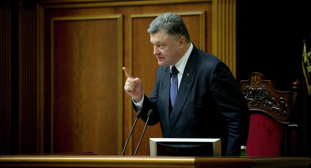 Ukrainian President Petro Poroshenko during a session of the Verkhovna Rada of Ukraine