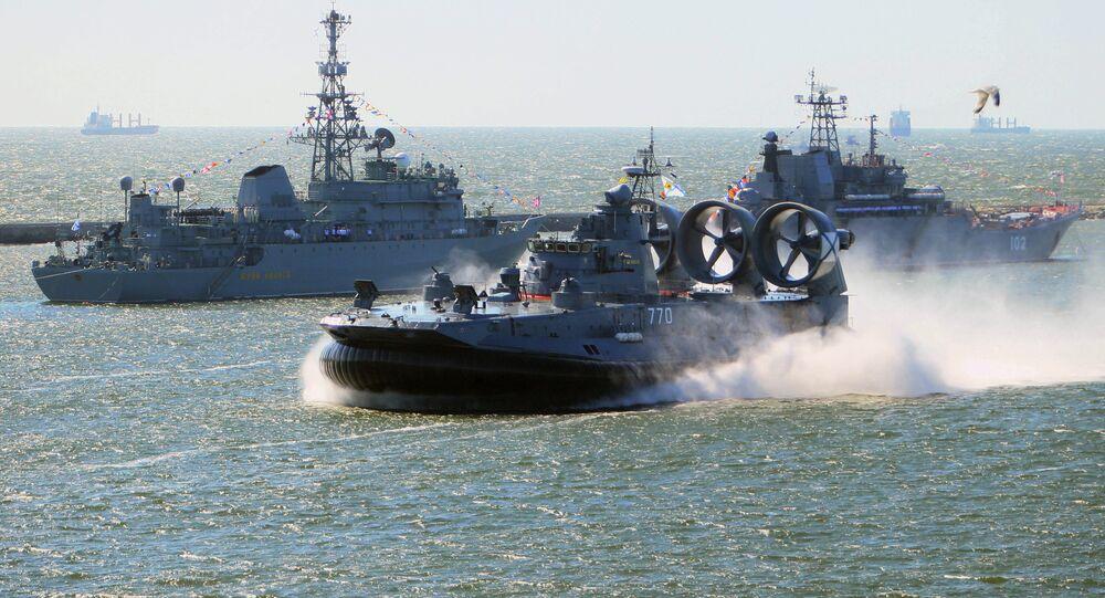 Rehearsal for naval review in Baltiysk