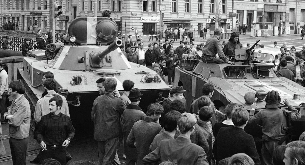 Soviet tanks in Prague during the Prague Spring, August 21, 1986. File photo