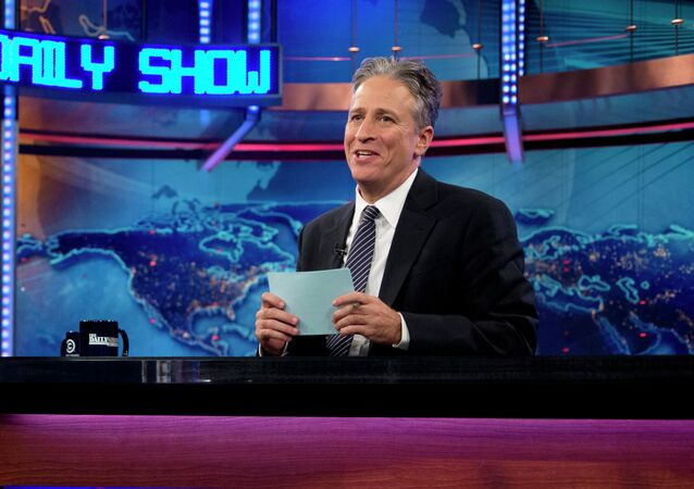 Jon Stewart during a taping of The Daily Show with John Stewart, in New York.