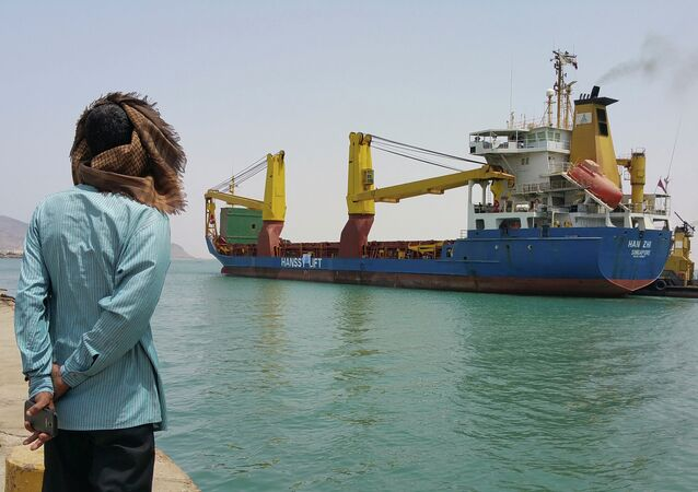 A foreign ship with a load of commercial goods docked in the southern Yemeni port city of Aden