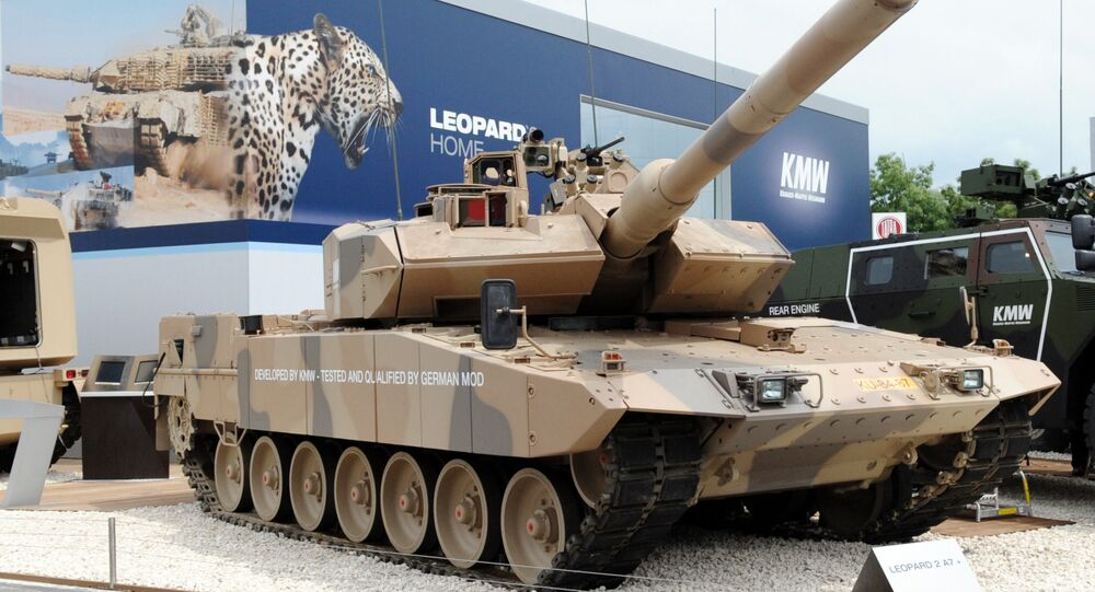 The battle tank Leopard 2 A7 is presented by German Krauss-Maffei Wegmann (KMW) on June 14, 2010 at Eurosatory 2010 in Villepinte near Paris