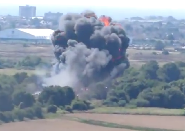 Moment of the plane crash at the Shoreham Airshow in West Sussex, England