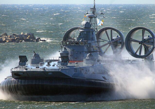 The Yevgeny Kocheshkov small landing hovercraft during a rehearsal of a Navy Day Parade in the Marine Canal of Baltiysk.