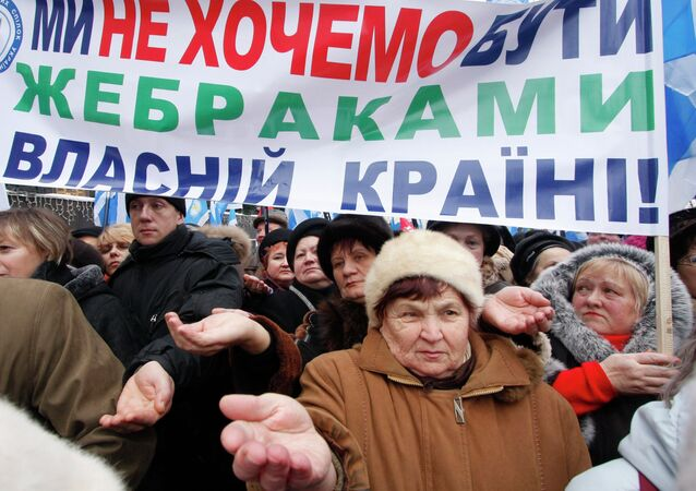 Ukrainian trade unions stage rally on Kiev's Independence Square