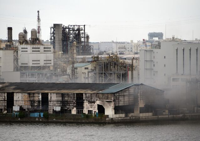 Smoke rises from a steel plant beside a river in Kawasaki near Tokyo's Haneda airport