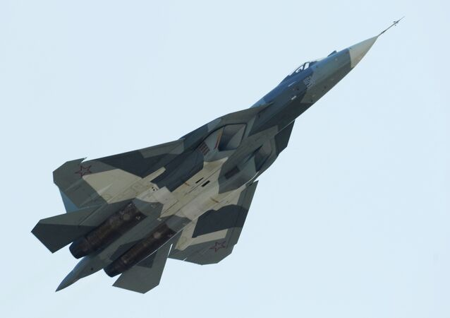 Russia's T-50 fighter at the MAKS-2011 International Aviation and Space Show in Zhukovsky.