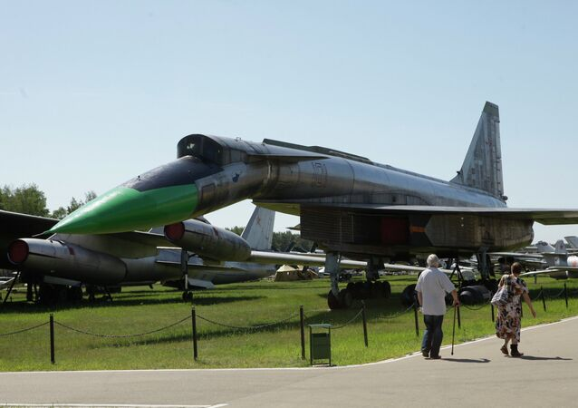 Shock-reconnaissance aircraft T-4 in the Air Force Museum in the town of Monino