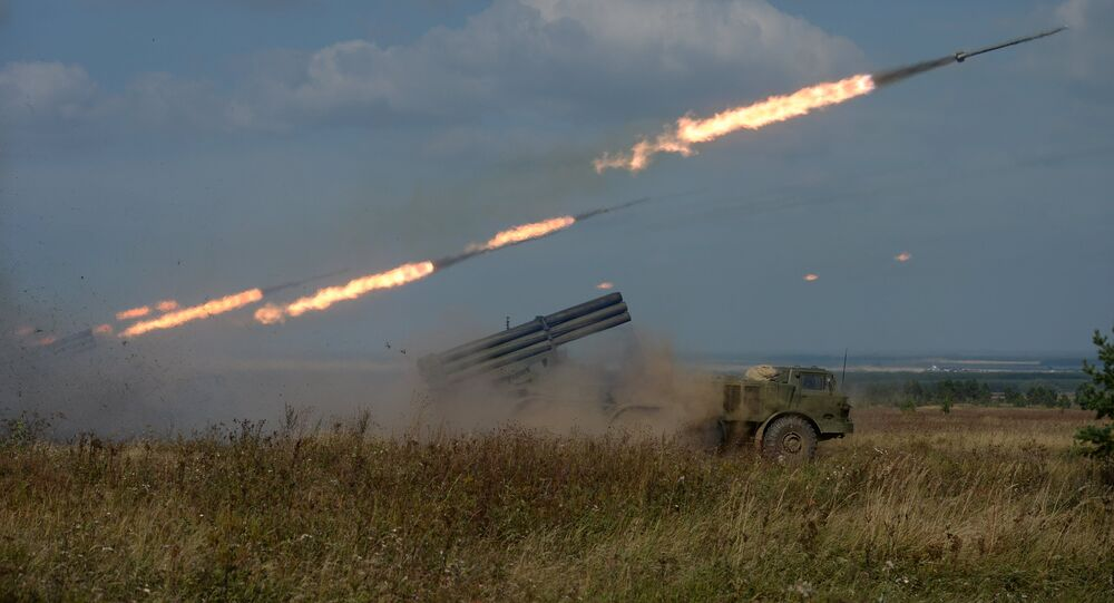 Uragan Multiple-Launch Rocket System fires during an exercise in missile strike and artillery fire control at the Chebarkul firing range of the Central Military District in the Chelyabinsk Region.