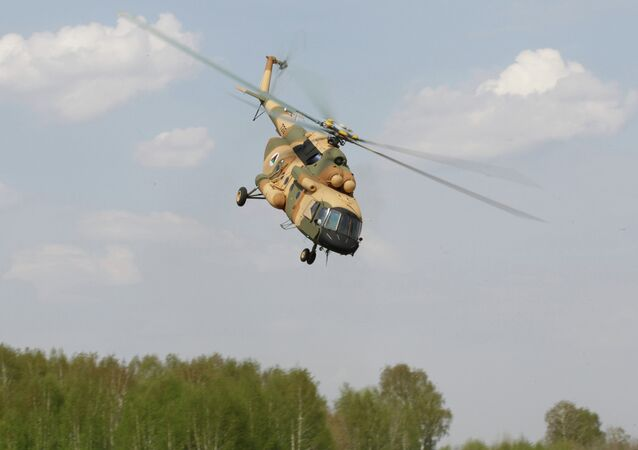 A Mi-17 V-5 helicopter is demonstrated at the testing facility of the OAO Kazan Helicopter Plant, part of the Helicopters of Russia, a Russian helicopter building holding.