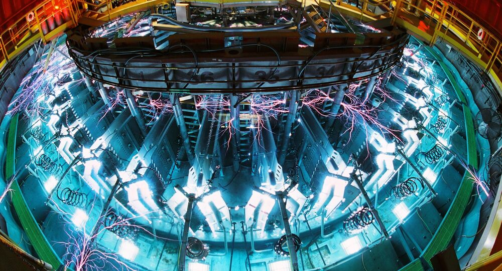 Saturn, one of Sandia's workhorse pulsed-power machines, in operation at Sandia National Laboratory.