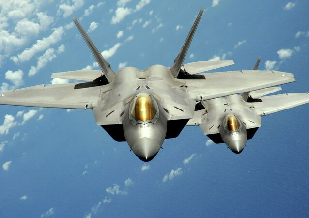 Two US Air Force F-22 Raptor stealth jet fighters fly near Andersen Air Force Base, Guam. File photo