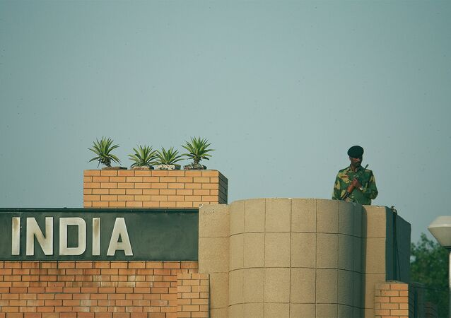 A border guard in Attari Border Crossing, India