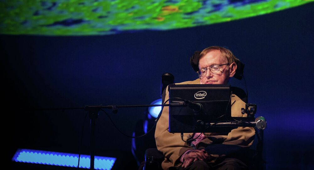 British theoretical physicist professor Stephen Hawking gives a lecture during the Starmus Festival on the Spanish Canary island of Tenerife on September 23, 2014.