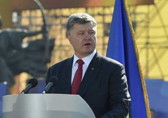 Ukrainian President Petro Poroshenko during a march on Independence Day in Kiev