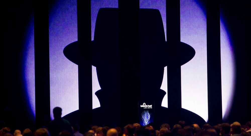 The Black Hat logo is displayed before a keynote address by Jennifer Granick, director of civil liberties at the Stanford Center for Internet and Society, during the Black Hat USA 2015 cybersecurity conference in Las Vegas, Nevada August 5, 2015