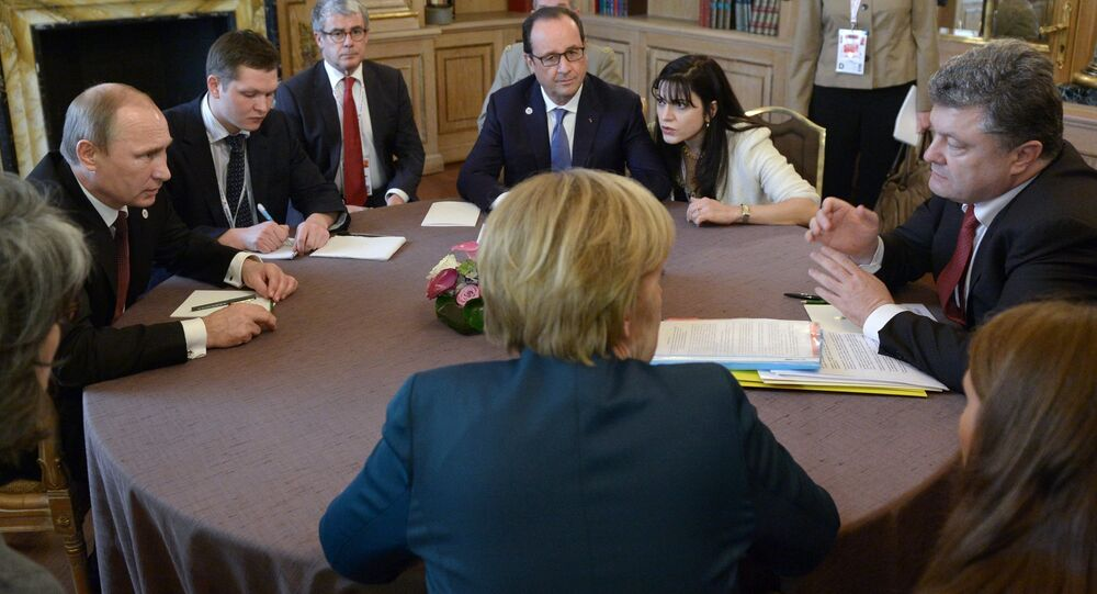 October 17, 2014. Russian President Vladimir Putin (left), Ukrainian President Petro Poroshenko (right), German Chancellor Angela Merkel (near center), and French President Francois Hollande (far center) during a meeting in the Normandy format on the sidelines of the ASEM Summit