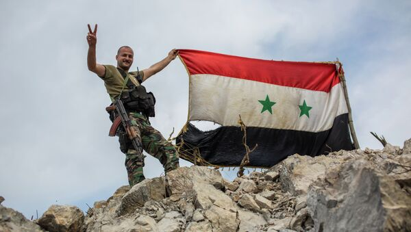 A government soldier with the Syrian flag on a location on top of a hill not far from Kessab on the Turkish border following an Islamist takeover of the town - Sputnik International
