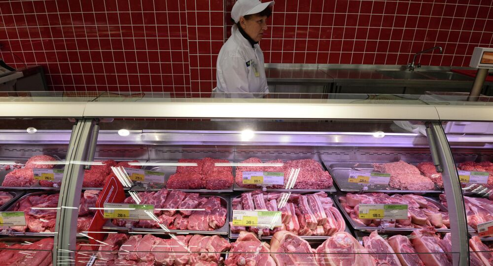 Meat section of the Lenta hypermarket in Novosibirsk. The Russian Government has imposed a ban on the imports of beef, pork, poultry, cheese, milk and fruit and vegetables from Australia, Canada, the European Union, the United States and Norway for one year