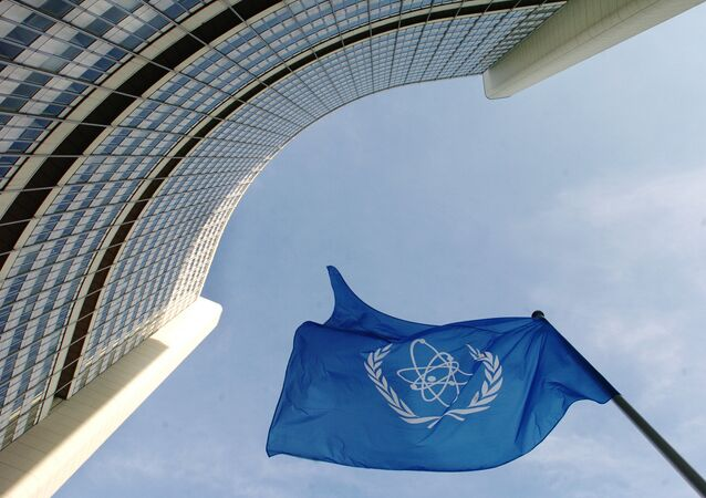 IAEA flag flatters in the wind in front of the International Atomic Energy Agency headquarers in Vienna. File photo