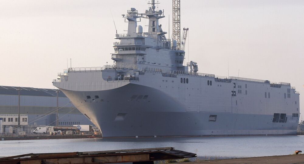 The Vladivostok warship, the first of two Mistral-class helicopter carriers ordered by Russia, docks on the port of Saint-Nazaire, western France