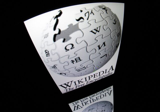 The Wikipedia logo is seen on a tablet screen. (File)