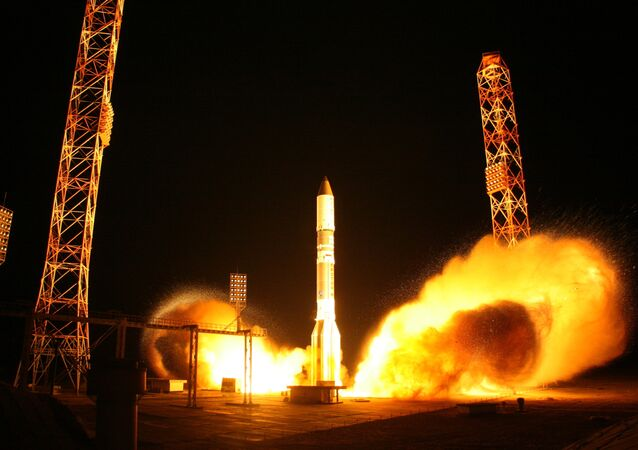A Proton-M rocket blasts off from the Baikonur cosmodrome