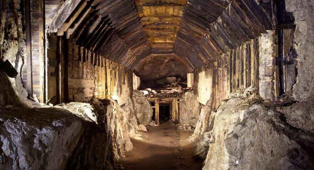FILE - This file photo from March.2012, shows a part of a subterranean system built by Nazi Germany in what is today Gluszyca-Osowka, Poland. According to Polish lore, a Nazi train loaded with gold, and weapons vanished into a mountain at the end of World War II, as the Germans fled the Soviet advance