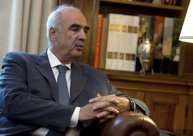 Leader of Greek conservative New Democracy party Vangelis Meimarakis speaks to Greek President Prokopis Pavlopoulos (not pictured) during their meeting in the presidential palace in Athens, Greece, August 21, 2015