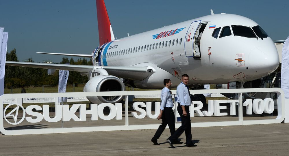 The Sukhoi Superjet 100, presented at the 2015 MAKS air show's opening ceremony in Zhukovsky, outside Moscow.