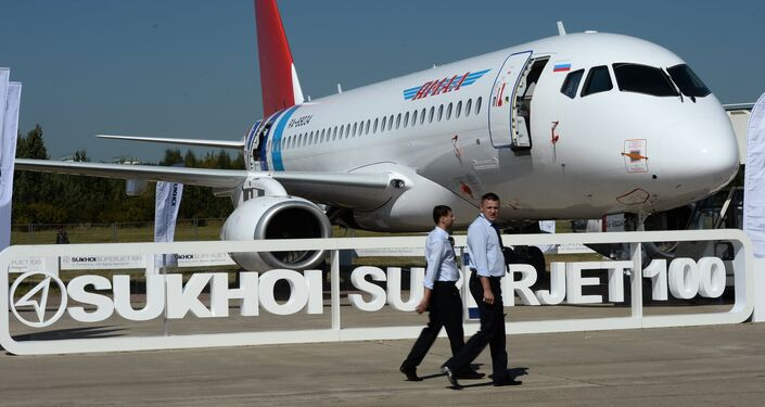 The Sukhoi Superjet 100 presented at the 2015 MAKS air show